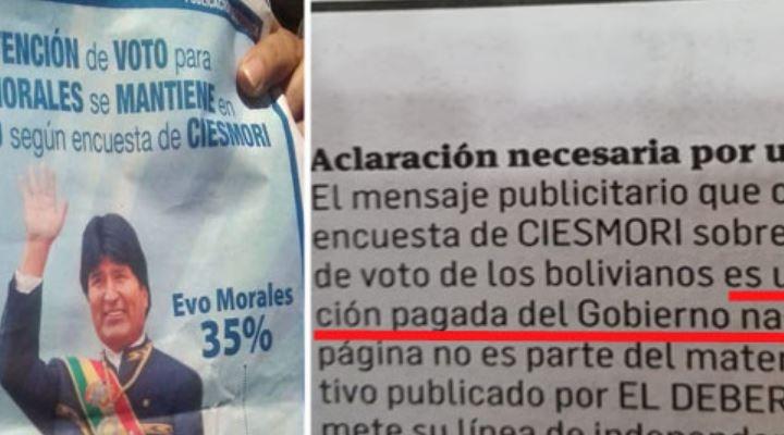 Reportan que la encuesta favorable a Evo fue pagada por el Gobierno en algunos diarios