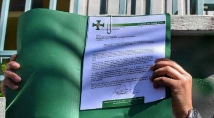 Comité pro Santa Cruz entrega carta al TSE en la que pide a los vocales electorales sus renuncias