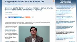 Seis entidades internacionales expresaron hasta ahora respaldo al periodista Raúl Peñaranda, amenazado por ENTEL