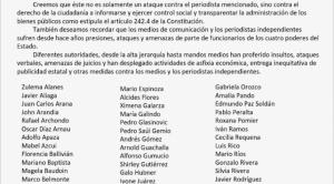 Más de 75 periodistas, artistas e intelectuales firman carta de respaldo a Raúl Peñaranda