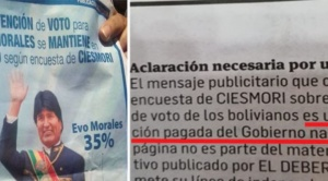 Órgano Electoral se declara incompetente para pronunciarse sobre publicación de encuesta a favor de Evo