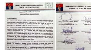 Suspenden al vicepresidente del FRI por cuestionar la alianza con Mesa