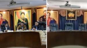 """En Quillacollo retiran retrato de Evo y Ortiz calificó como un """"acto de justicia"""""""