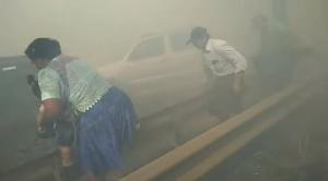 Humareda producto de un incendio forestal  en Warnes provocó al menos tres accidentes
