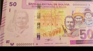 """El nuevo billete de Bs 50 tiene las imágenes de """"Cañoto"""", Bruno Racua y Zárate Willka"""