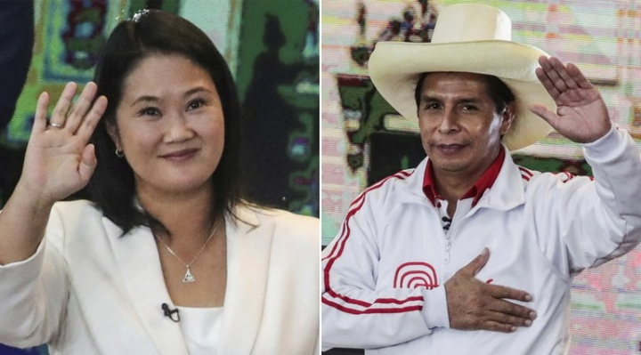 Perú: con el 91% de las actas procesadas, Keiko se impone a Castillo por escaso margen