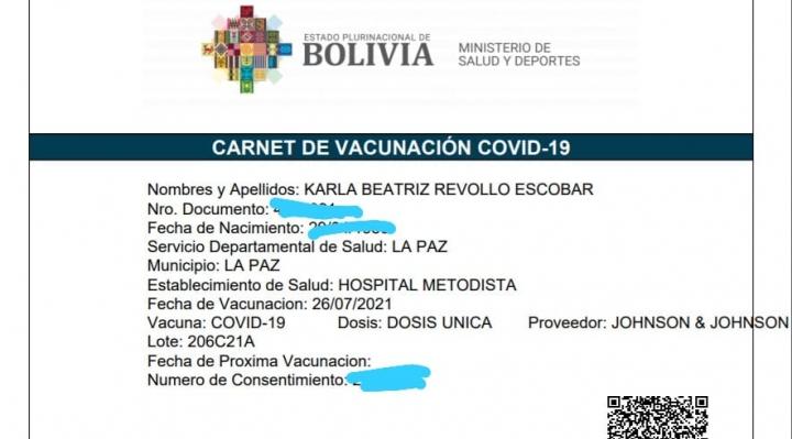 Confirman que Karla Revollo se vacunó con la dosis Jonhson & Johnson el 26 de julio