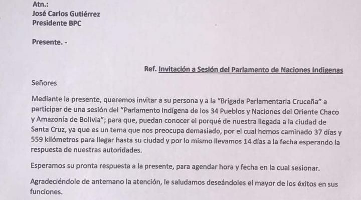 Marchistas invitan a brigada cruceña a la sesión del Parlamento Indígena