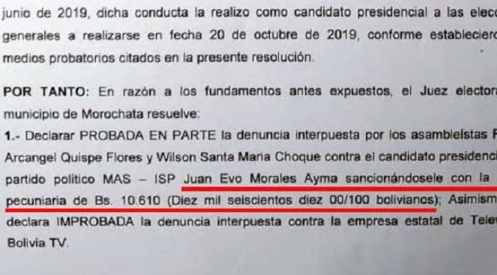 Por faltas electorales multan con Bs 10 mil a Evo Morales
