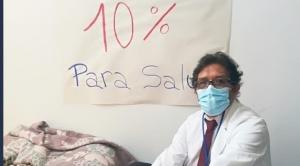 Médicos protestan  en demanda del 10% para la salud e instalan piquete de huelga de hambre