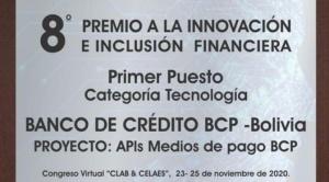 El BCP es premiado por el CLAB-FELABAN por su innovación en el área digital de servicios bancarios 1
