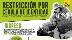 Desde el jueves, La Paz restringirá circulación de vehículos en 50% y de personas según número de carnet
