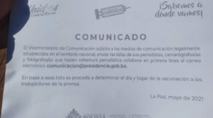 """Periodistas no pudieron recibir la vacuna en algunos puntos y ahora el Gobierno pide """"una lista"""""""