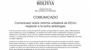 """Cancillería rechaza informe """"sesgado"""" de EEUU sobre drogas y culpa otra vez a Añez por el aumento de la coca"""