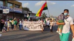 Marcha indígena es recibida con aplausos en Santa Cruz de la Sierra
