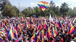 """Con un """"wiphalazo"""", el MAS declara su respaldo a Luis Arce"""