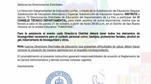 """Denuncian que el director distrital de Educación """"obliga"""" a asistir a directores distritales a evento en San Buena Ventura"""