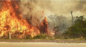 Santa Cruz: ante la alerta de fuertes vientos gobernación busca apagar la mayor cantidad de focos de calor.