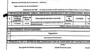 Senador Núñez denuncia sobreprecio en la construcción del hospital de tercer nivel en Potosí