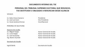 Documento interno: En un año, 43 personas renunciaron o fueron echadas de sus cargos en el TSE