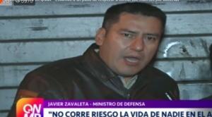"""Ministro Zavaleta: """"Estamos a un paso de que esto se descontrole totalmente y comencemos a contar los muertos por docenas"""""""