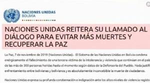 Sistema de Naciones Unidas Bolivia rechaza cualquier forma de violencia y hace un llamado al diálogo