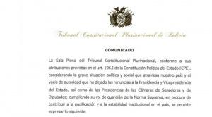 La sucesión presidencial es respaldada por el Tribunal Constitucional