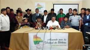 """""""Acuerdo por la Unidad"""" aglutina a varios sectores y rechaza amenazas de afines a Evo"""