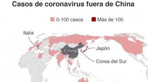 El mapa que muestra el alcance global de la epidemia de coronavirus