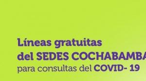 Cochabamba: Habilitan 5 líneas telefónicas para asistencia de casos COVID-19